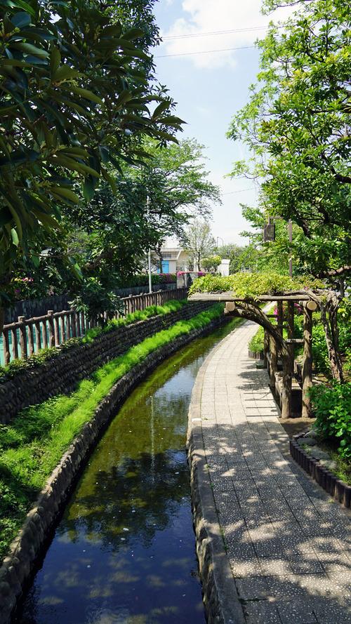 古川親水公園の春の風景