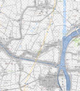 画像 明治42年と平成28年の地図を重ねたもの(江戸川~新川)