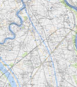 明治42年と平成28年の中川放水路の地図