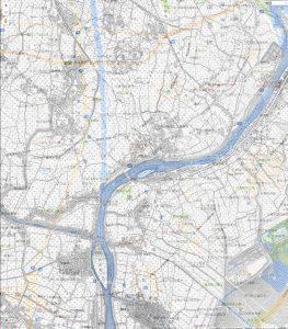 明治42年と平成28年の地図(中川放水路)
