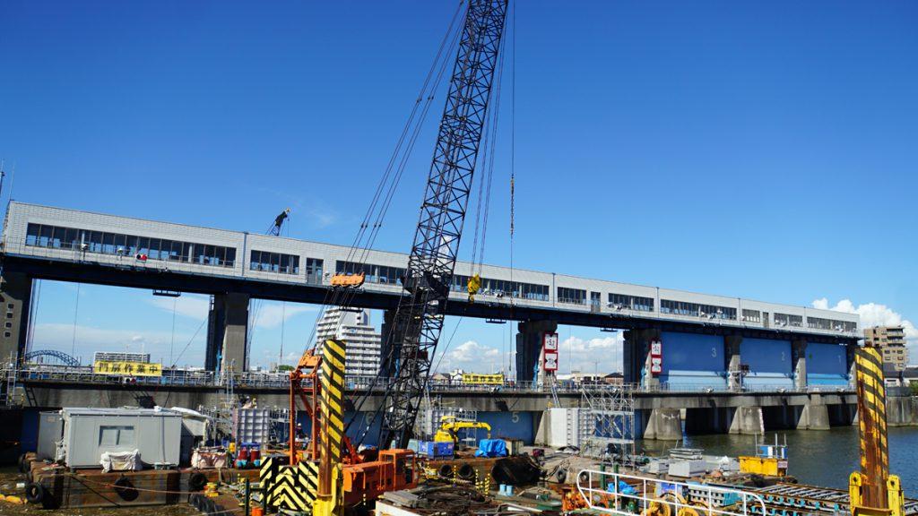 画像 耐震工事中の今井水門