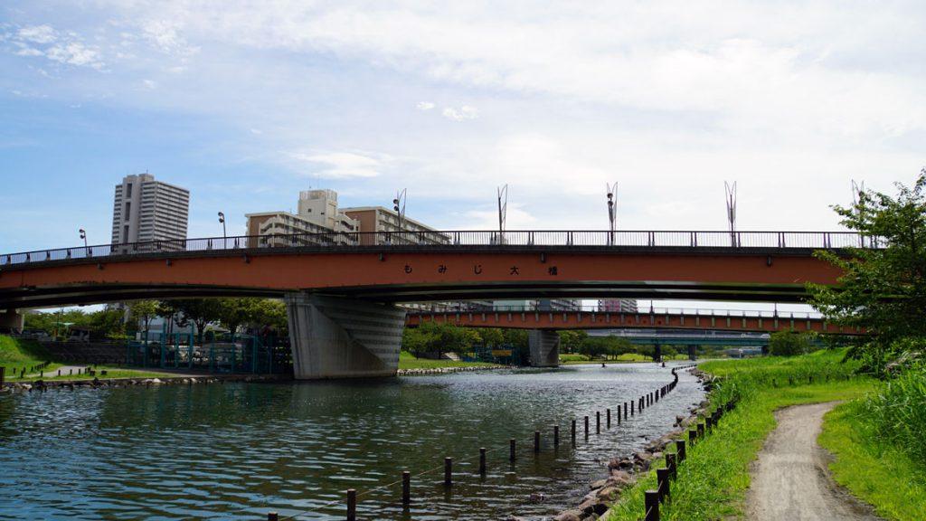 旧中川の風景(もみじ大橋)