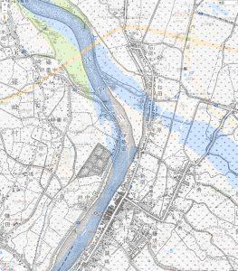 明治42年の地図と平成28年の地図を重ねたもの