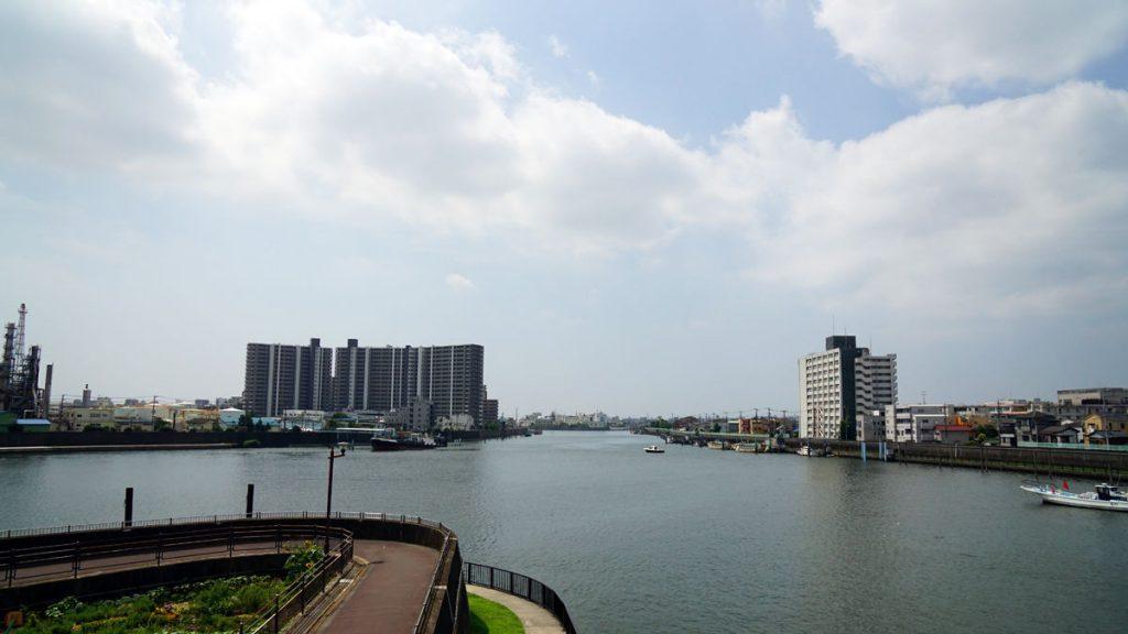 旧江戸川と新中川の合流地点の風景