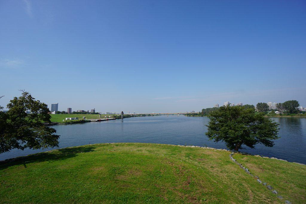 画像 中の島から撮影した荒川と隅田川の分岐点