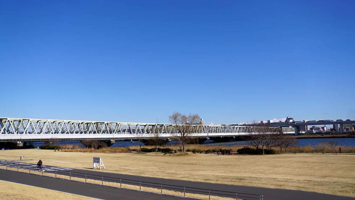 荒川河川敷の冬の風景