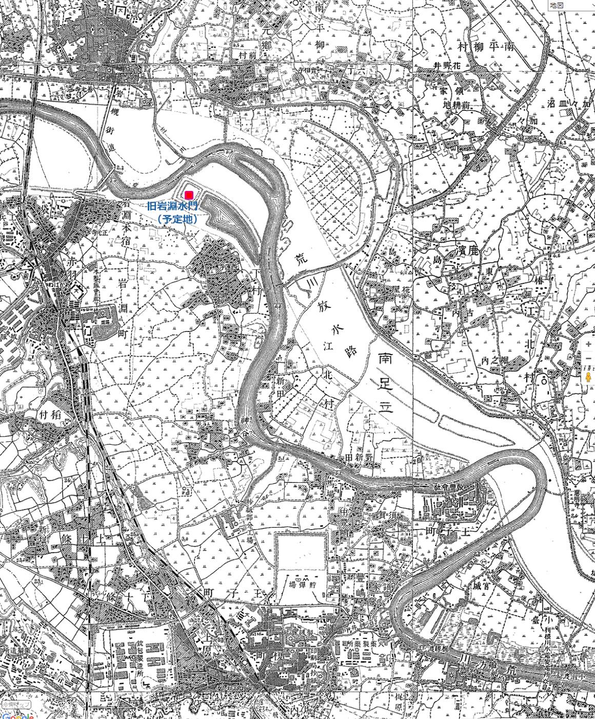 画像 大正4年の旧岩淵水門周辺の地図