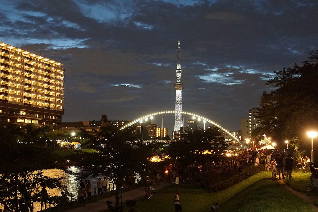 画像 旧中川とスカイツリー ふれあい橋