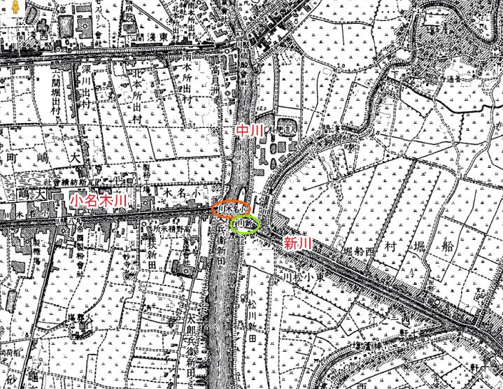 画像 明治42年の地図(小名木川と中川との合流地点)