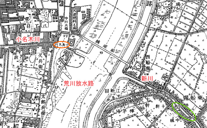 画像 昭和5年の地図(小名木川と中川との合流地点)